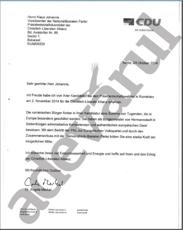 Scrisoare Angela Merkel sustinere Iohannis