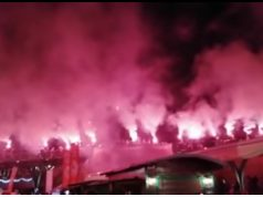 Ultraşii au aprins torţele sâmbătă seara în Cetatea Alba Iulia .